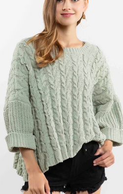 Oversized Cable Knit Sweater - Desert Sage