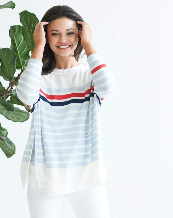 Catalina Travel Sweater -  Sky/Red/Navy Striped