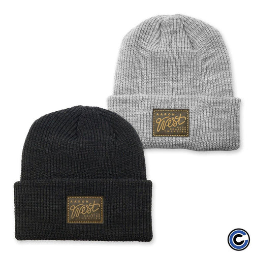 "Buy Now – Aaron West & The Roaring Twenties ""Label Badge"" Knit Beanie – Cold Cuts Merch"