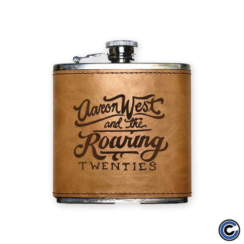 "Aaron West ""Logo"" Faux Leather Flask"