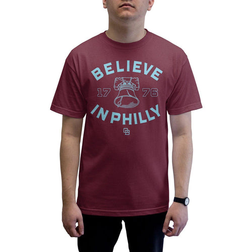 "Buy – Cracked Bell ""Believe in Philly 2.0"" Burgundy Shirt – Band & Music Merch – Cold Cuts Merch"