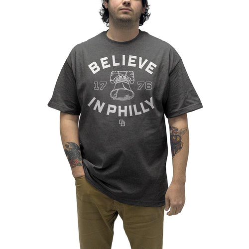 "Buy – Cracked Bell ""Believe In Philly 2.0"" Charcoal Heather Shirt – Band & Music Merch – Cold Cuts Merch"