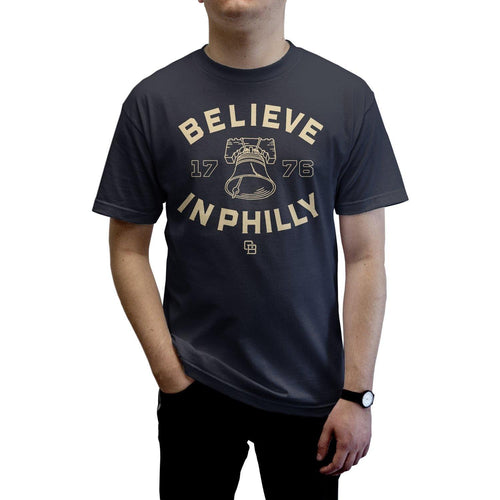 "Buy – Cracked Bell ""Believe In Philly 2.0"" Navy Shirt – Band & Music Merch – Cold Cuts Merch"