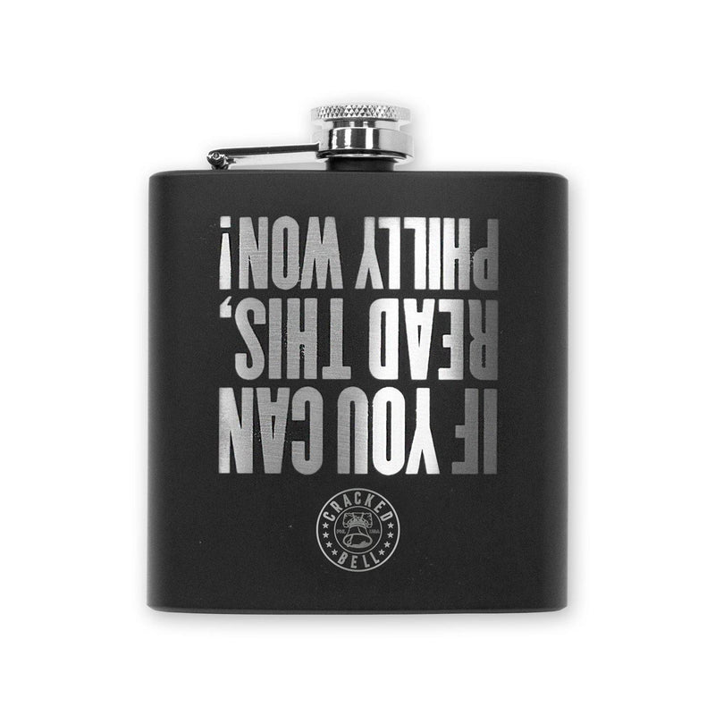 "Cracked Bell ""Philly Won"" Black Flask"