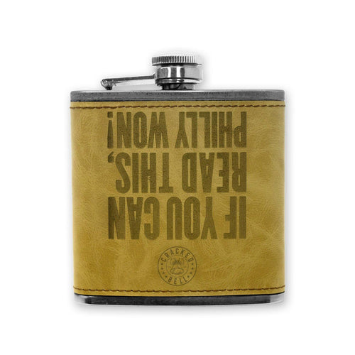 "Cracked Bell ""Philly Won"" Faux Leather Flask"