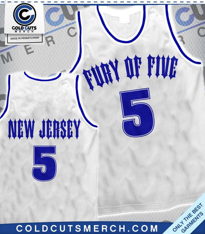 "Fury of Five ""New Jersey"" Basketball Jersey White"