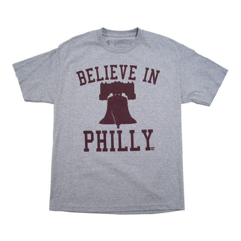 "Cracked Bell ""Believe in Philly"" Ath. Heather/Maroon Shirt"