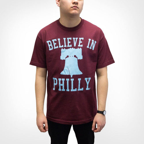 "Cracked Bell ""Believe in Philly"" Maroon Shirt"