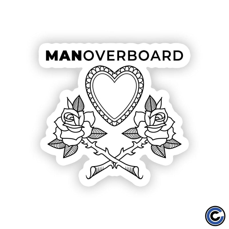 "Man Overboard ""Heart Flowers"" Diecut Sticker"