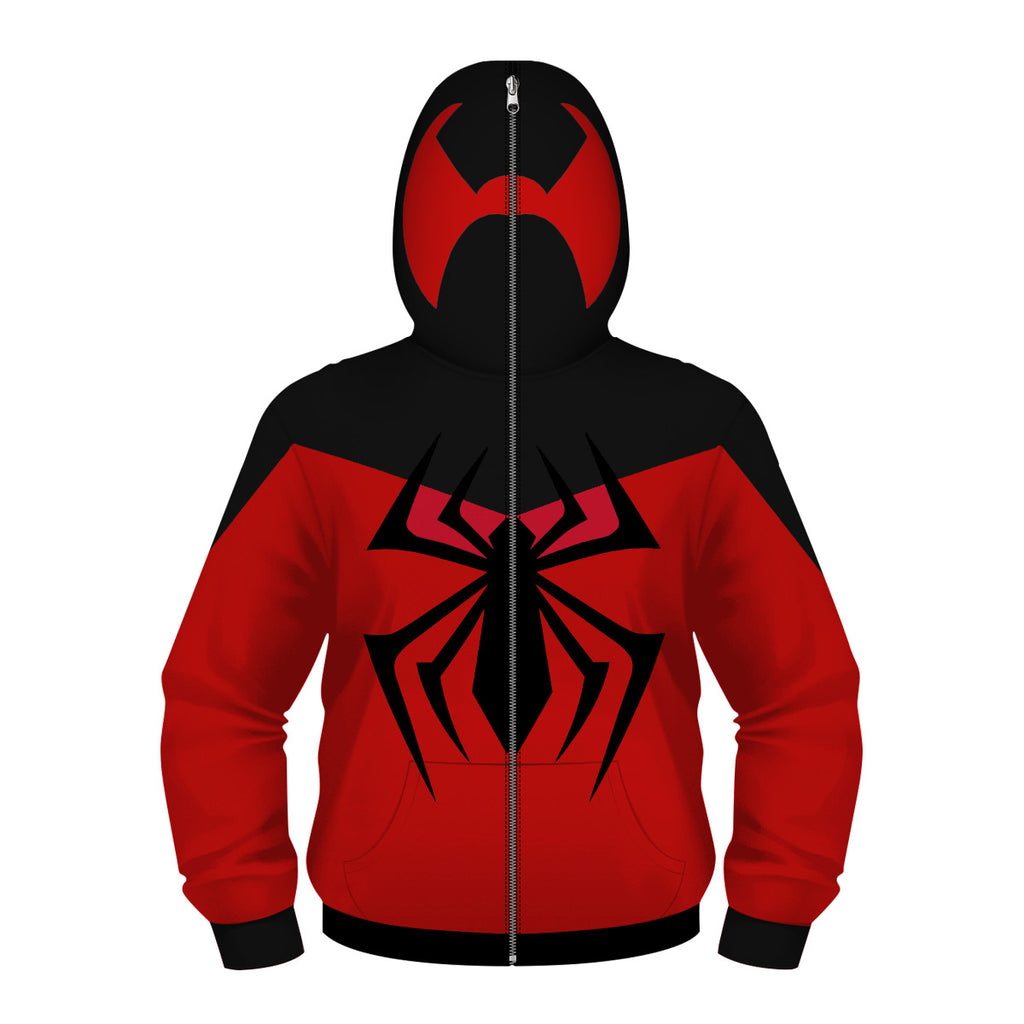 Spider-man Deadpool Long Sleeve Cosplay Masked Zip-up Sweater For Kids