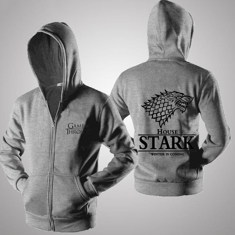GOT House Stark Print Zip-up Hoodie