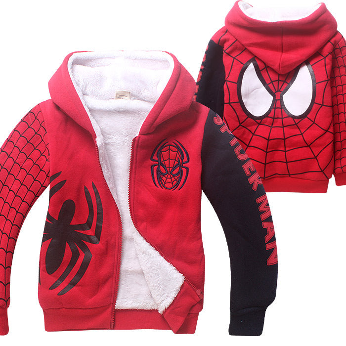 Spider-man Thickening Embroidery Cardigan Coat For Kids