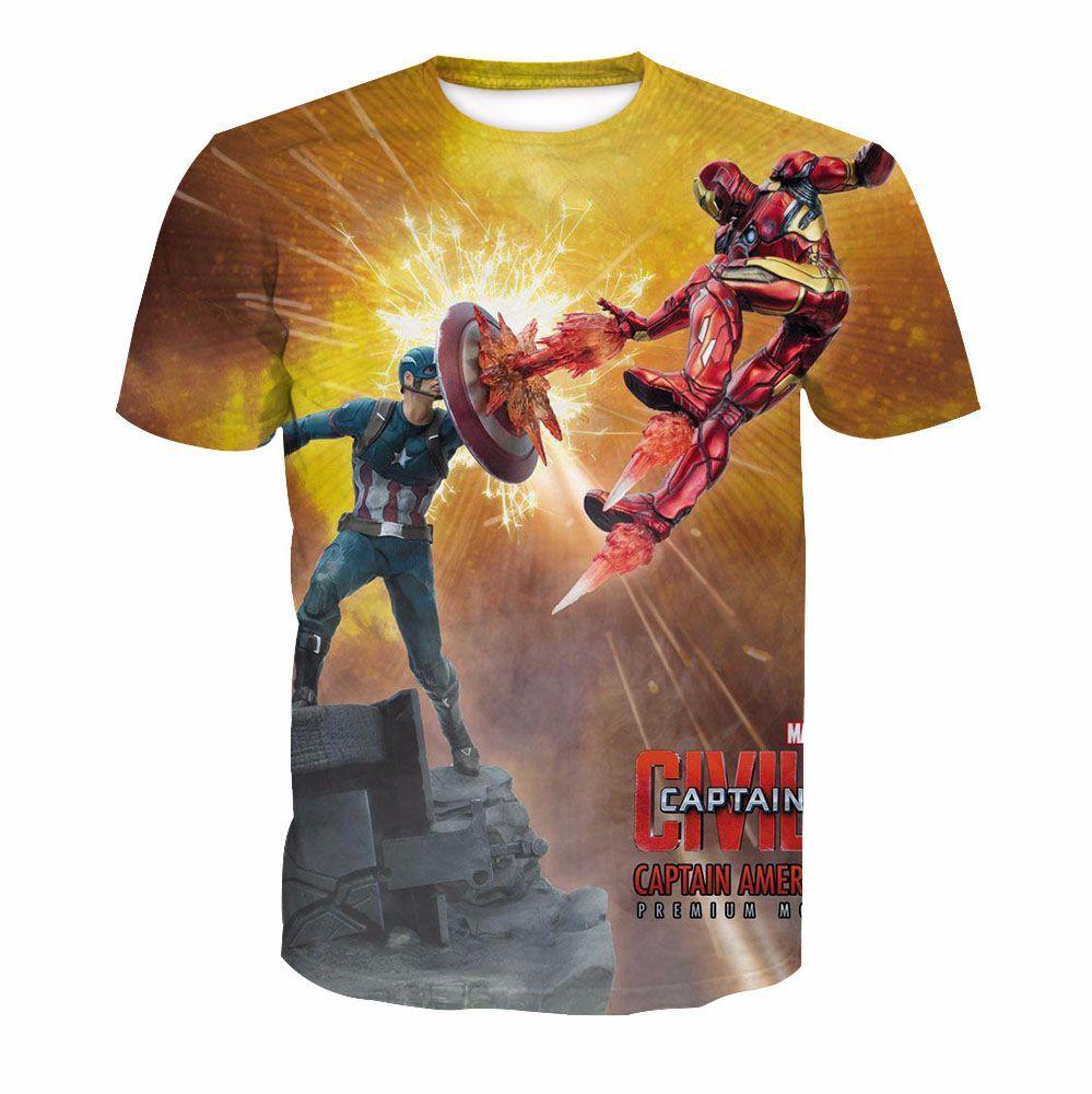 Iron Man and Captain America 3D Digital Print T Shirt