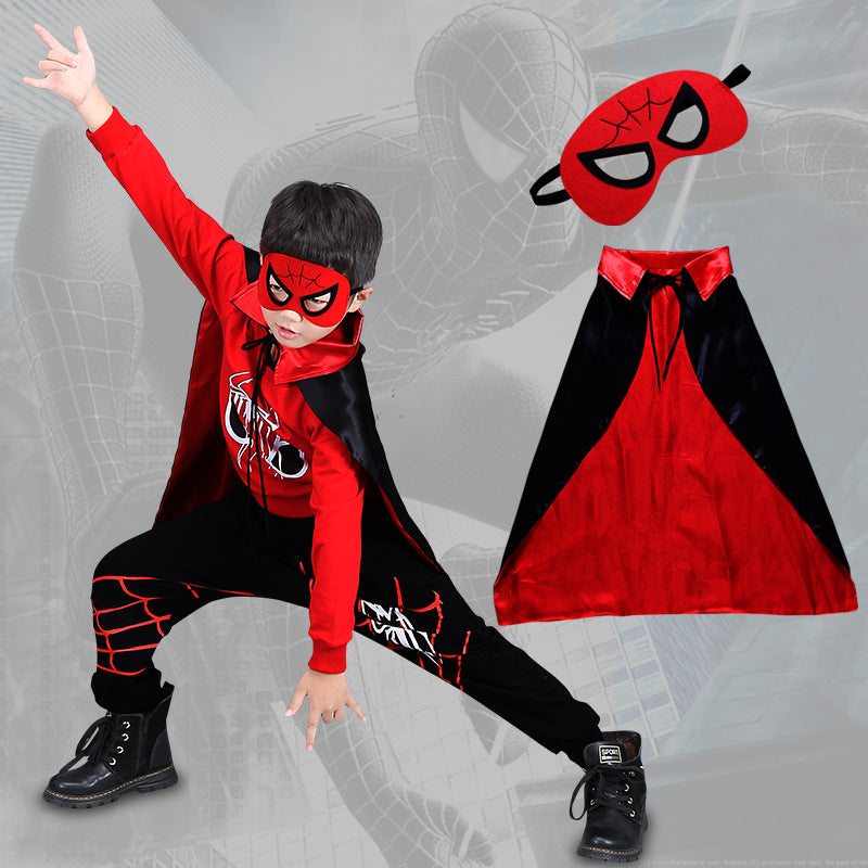 Spider-Man Long Sleeve T-shirt and Pants Set with Cloak and Mask for Kids