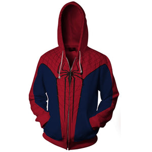 New Spider Man Family Matching Outfit Zip Up Hoodies For Adult and Kid