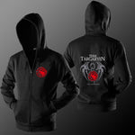 GOT Team Targaryen Print Zip-up Hoodie