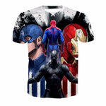 Iron Man and Captain America 3D Digital Printing Short Sleeve T-Shirt