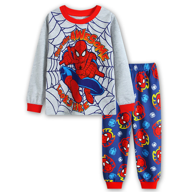 Spider-man Print Long Sleeve Pajamas Set For Kids