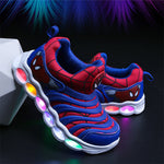 Spider-Man Iron Man American Captain LED Induction Lights Illuminated Shoes For Kids