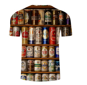 Men's Summer 3D Beer Printed Short Sleeve T-Shirt