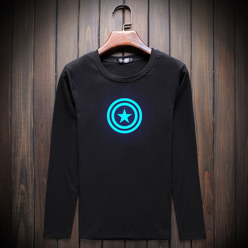 Trendy Captain America Luminous Long Sleeve T-Shirt