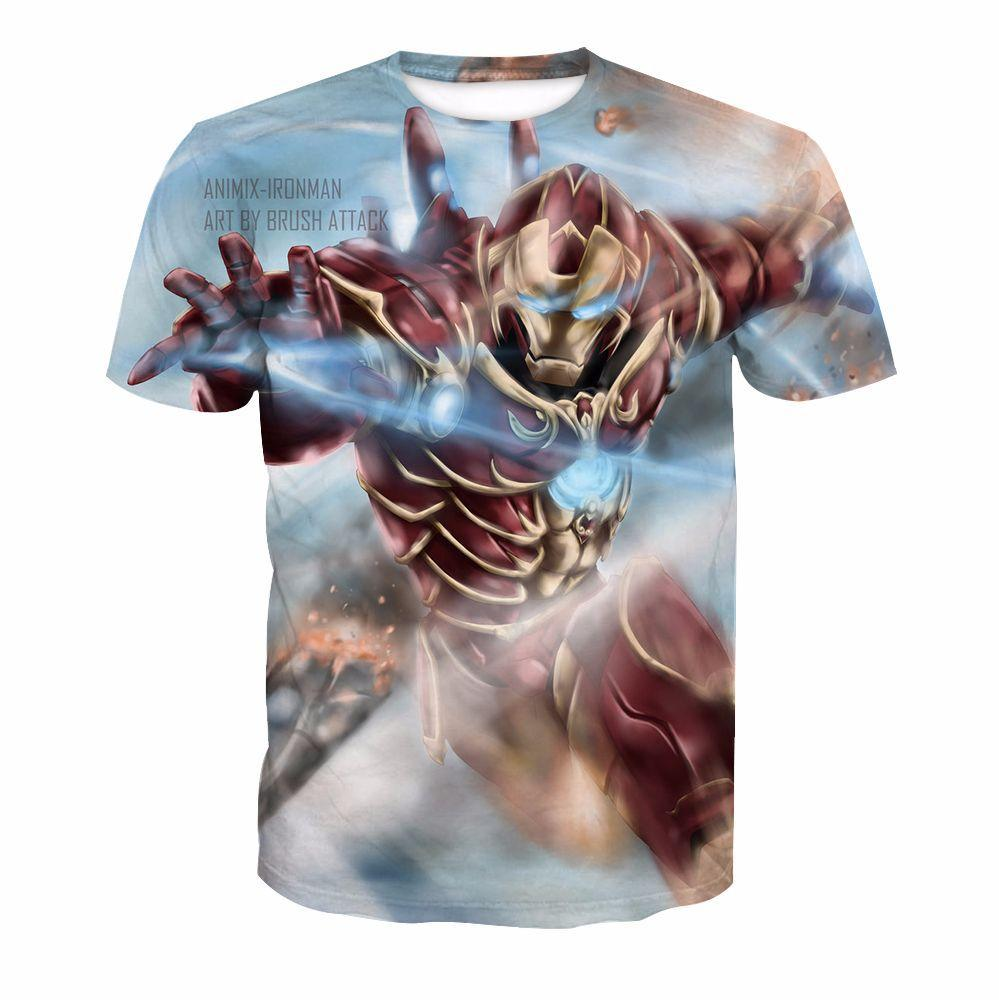 Iron Man Ultron 3D Digital Printing Short Sleeve T-Shirt
