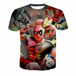 Iron Man and Deadpool 3D Digital Print T Shirt