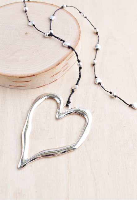 Silver Open Heart Alloy Necklace