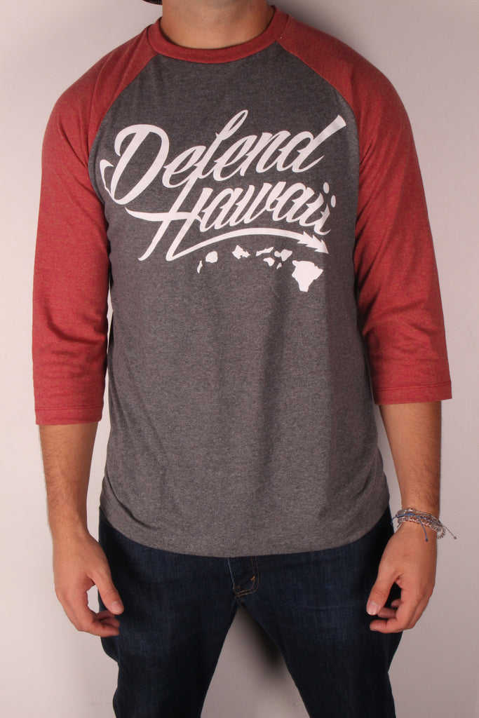 DH ! WILDSTYLE LOGO 3/4 SLEEVE RAGLAN  ART.GRY/RUST.RED WHITE