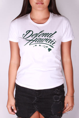 DH ! WILDSTYLE LOGO WAHINE TEE  WHT/DRK.GRN
