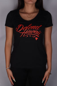 DH ! WILDSTYLE LOGO WOMENS V-NECK  BLK/RED