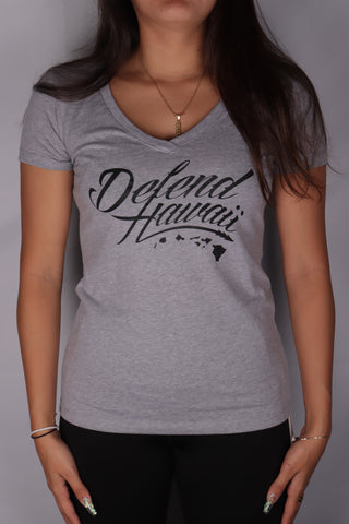 DH ! WILDSTYLE LOGO WOMENS V-NECK  GRY.HTHR/BLK