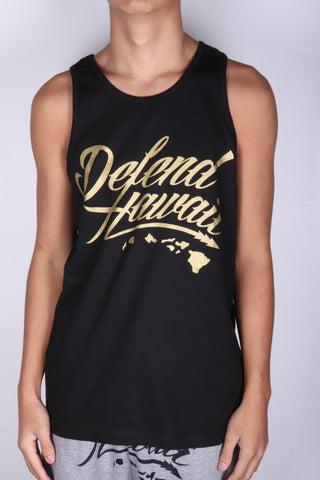 DH ! WILDSTYLE LOGO TANK-TOP  BLACK/GOLD