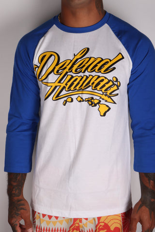 DH ! WILDSTYLE SHADOW 3/4 SLEEVE RAGLAN  WHT/ROYAL YLW/BLK