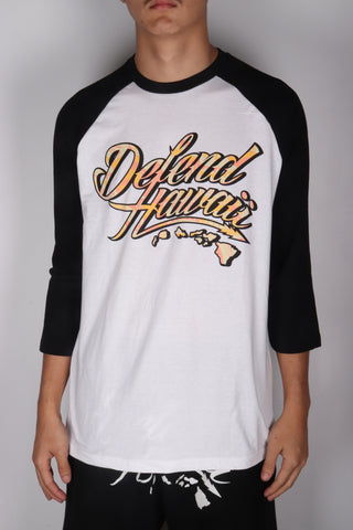 DH ! WILDSTYLE SHADOW 3/4 SLEEVE RAGLAN  WHT/BLK TAN/BUTTER/CORAL/BLK