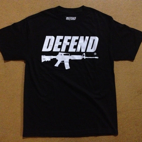 DEFEND ! AR15  BLACK/WHT