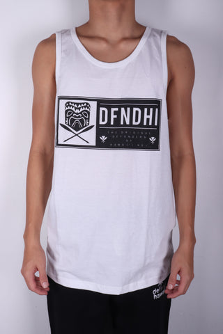DH ! TIKI PATCH TANK-TOP  WHITE/BLACK