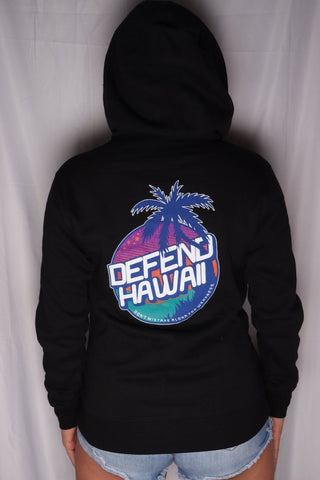 DH ! SUNSET CIRCLE WOMENS ZIP HOODY  BLACK NVY/PRP/ORG/TEAL/WHT