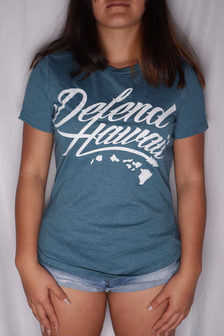 DH ! WILDSTYLE LOGO WOMENS TEE  HTHR.DEEP TEAL/WHITE