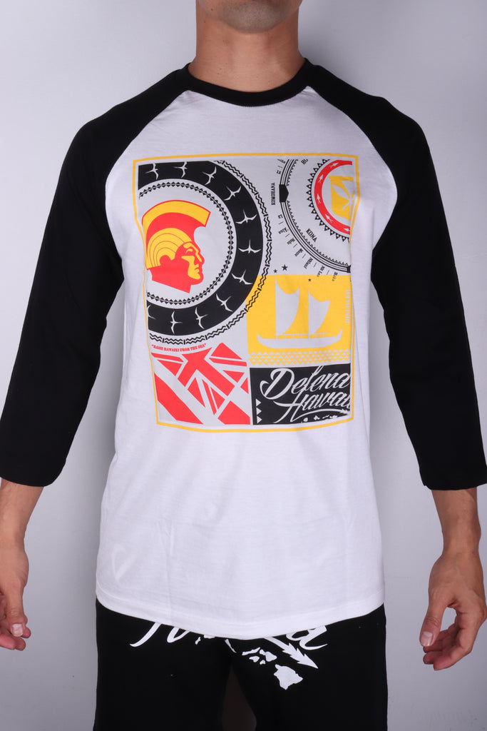 DH ! ROOTS COLLAGE 3/4 SLEEVE RAGLAN  WHT/BLK BLK/YLW/RED/GRY