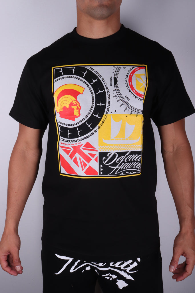 DH ! ROOTS COLLAGE  BLACK DBLK/YLW/RED/GRY