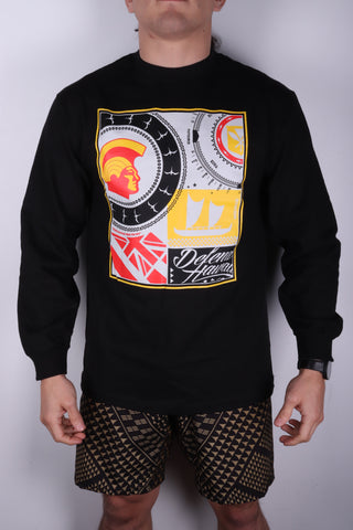 DH ! ROOTS COLLAGE LONGSLEEVE  BLACK BLK/YLW/RED/GRY