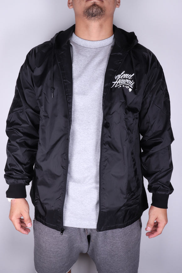 DH ! WILD REBEL  HOODED NYLON JACKET  BLACK/WHITE