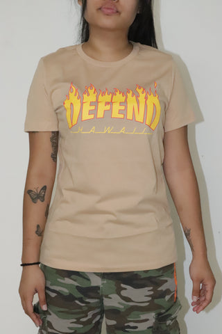 DH ! THRASH & DEFEND WOMENS T-SHIRT  SUNSET YLW/RED