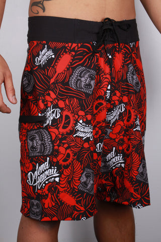 DH ! KU FLORAL BOARDSHORTS  RED
