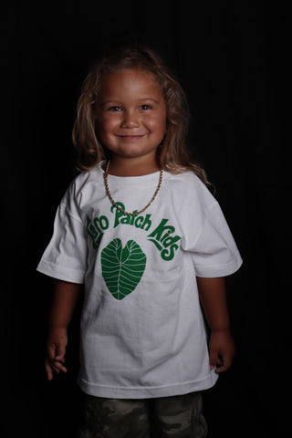 DH ! TARO PATCH KIDS KEIKI TEE  WHITE/FOREST.GREEN