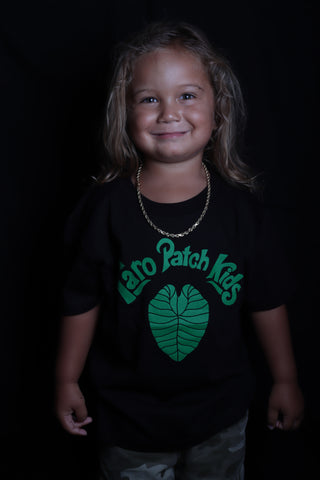 DH ! TARO PATCH KIDS KEIKI TEE  BLACK/FOREST.GRN
