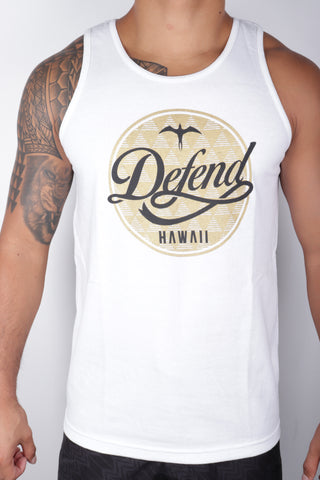 DH ! TRAVELERS TANK TOP  WHITE BLK/GLD