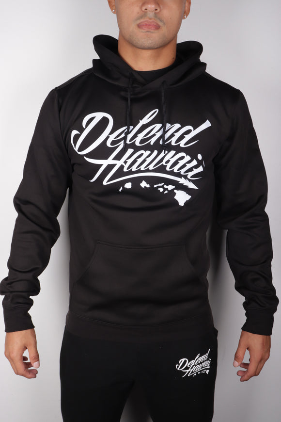 DH ! WILDSTYLE LOGO AIRLAYER PREMIUM FLEECE PULLOVER HOODIE. BLACK/WHITE