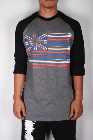 DH ! SPEAR FLAG 3/4 SLEEVE RAGLAN  ART.GRY/BLK  RED/WHT/BLUE